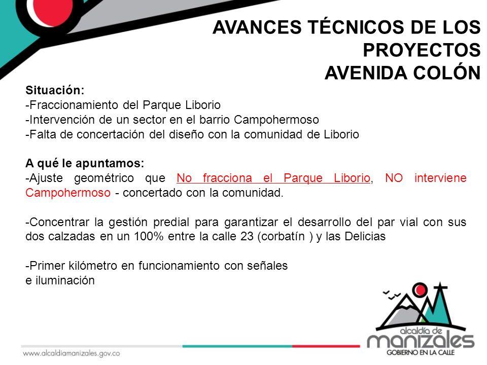 AVANCES TÉCNICOS DE LOS PROYECTOS AVENIDA COLÓN