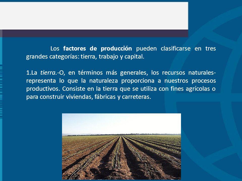 Los factores de producción pueden clasificarse en tres grandes categorías: tierra, trabajo y capital.