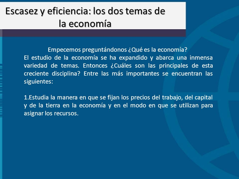 Escasez y eficiencia: los dos temas de la economía