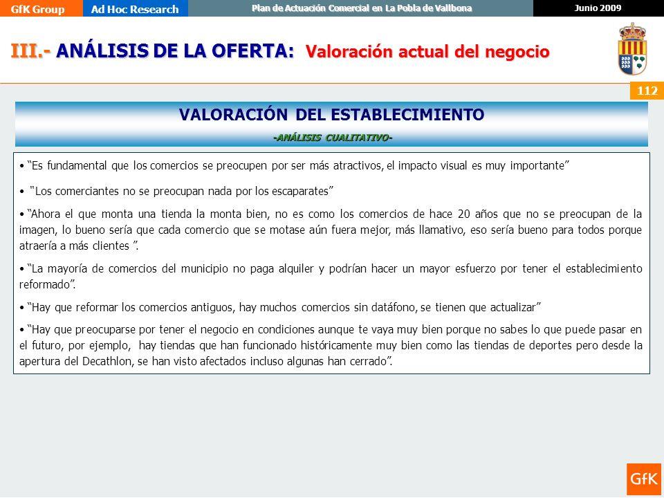 VALORACIÓN DEL ESTABLECIMIENTO -ANÁLISIS CUALITATIVO-