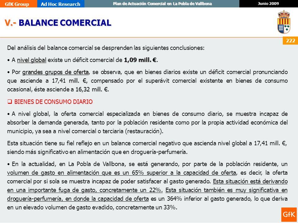 V.- BALANCE COMERCIAL Del análisis del balance comercial se desprenden las siguientes conclusiones: