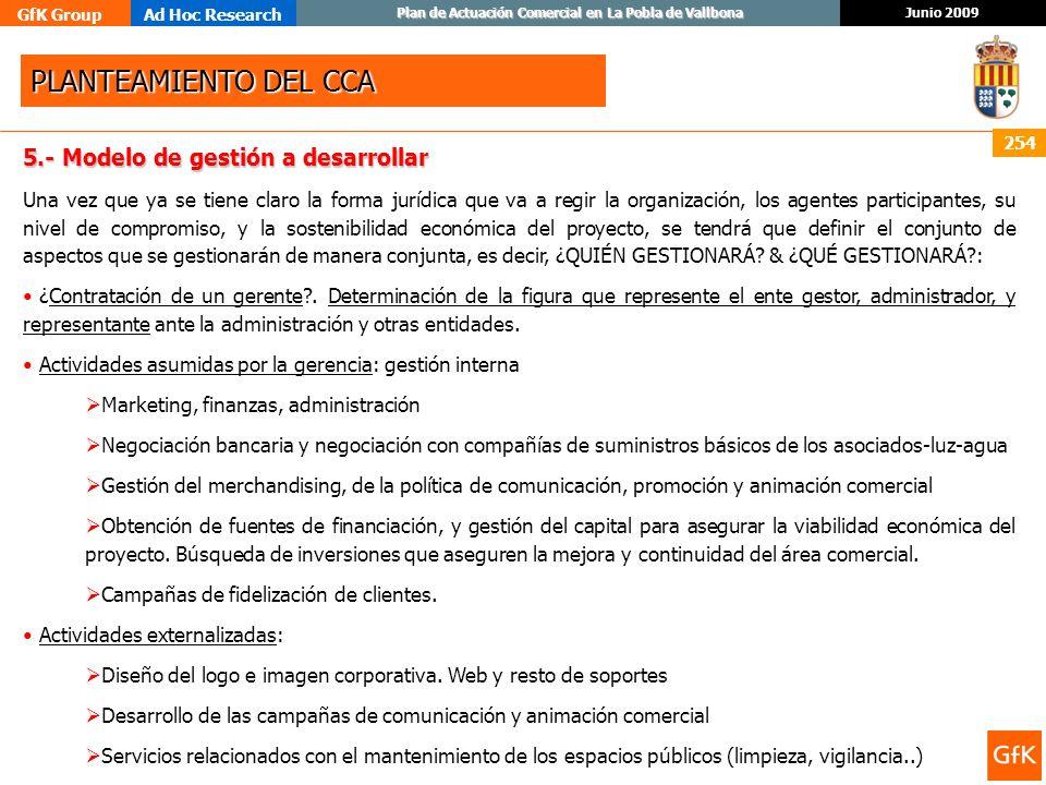 PLANTEAMIENTO DEL CCA 5.- Modelo de gestión a desarrollar