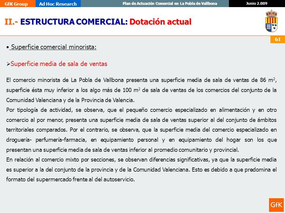 II.- ESTRUCTURA COMERCIAL: Dotación actual