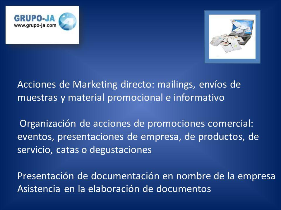 Acciones de Marketing directo: mailings, envíos de muestras y material promocional e informativo