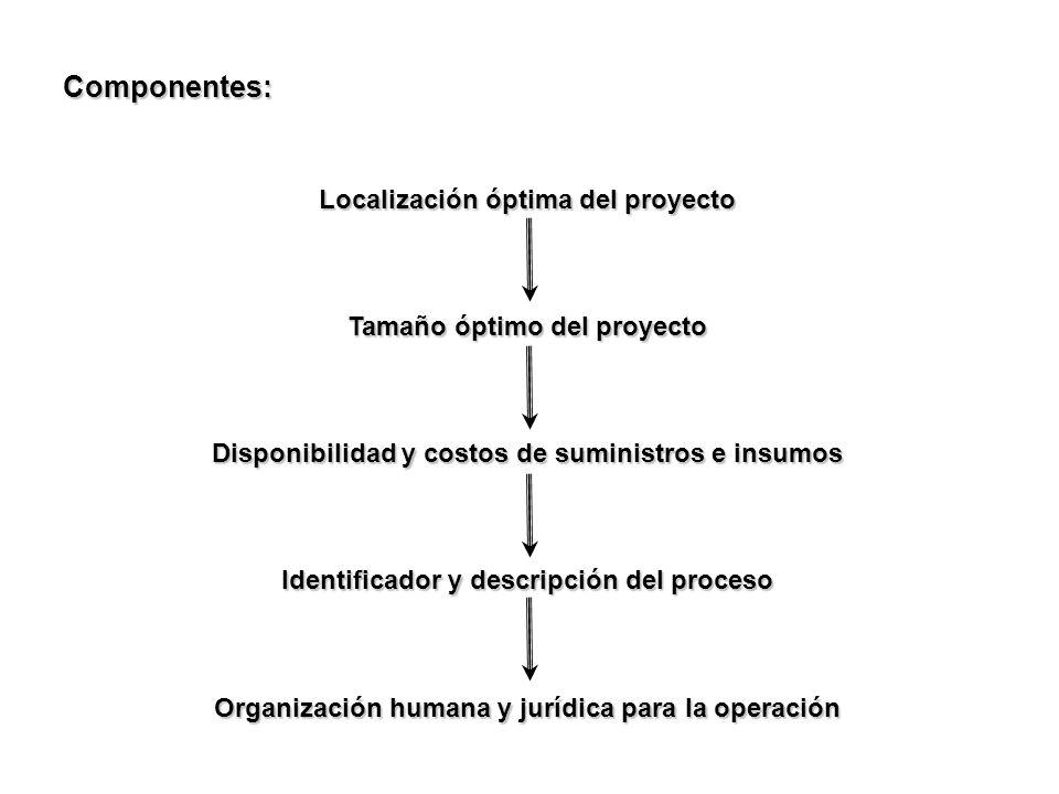 Componentes: Localización óptima del proyecto