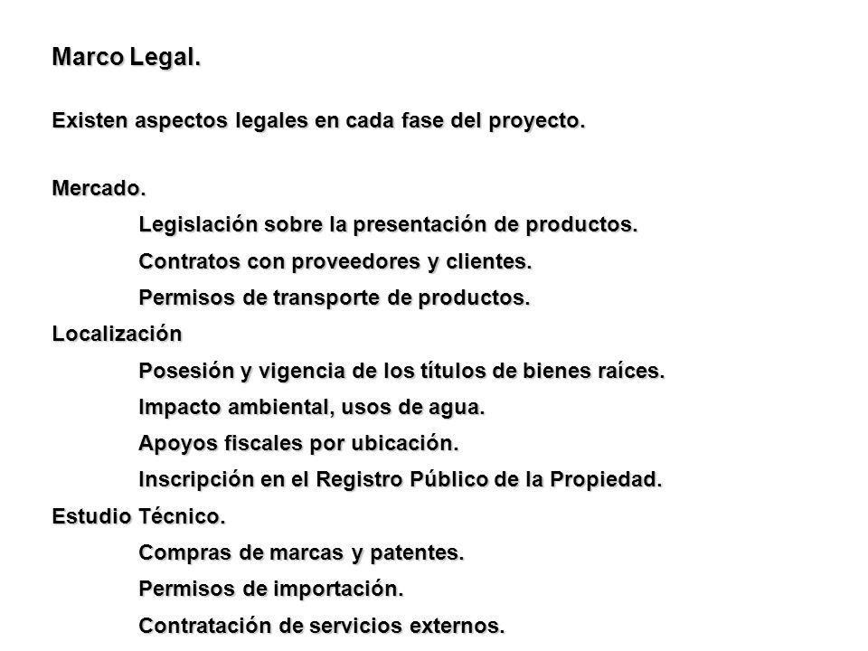 Marco Legal. Existen aspectos legales en cada fase del proyecto.