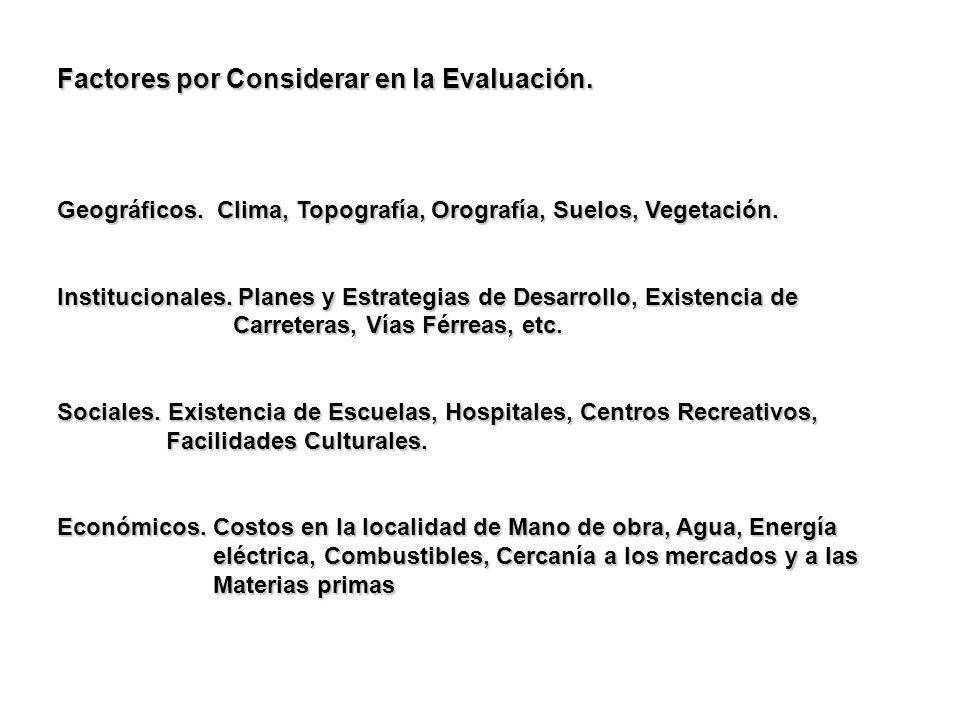 Factores por Considerar en la Evaluación.