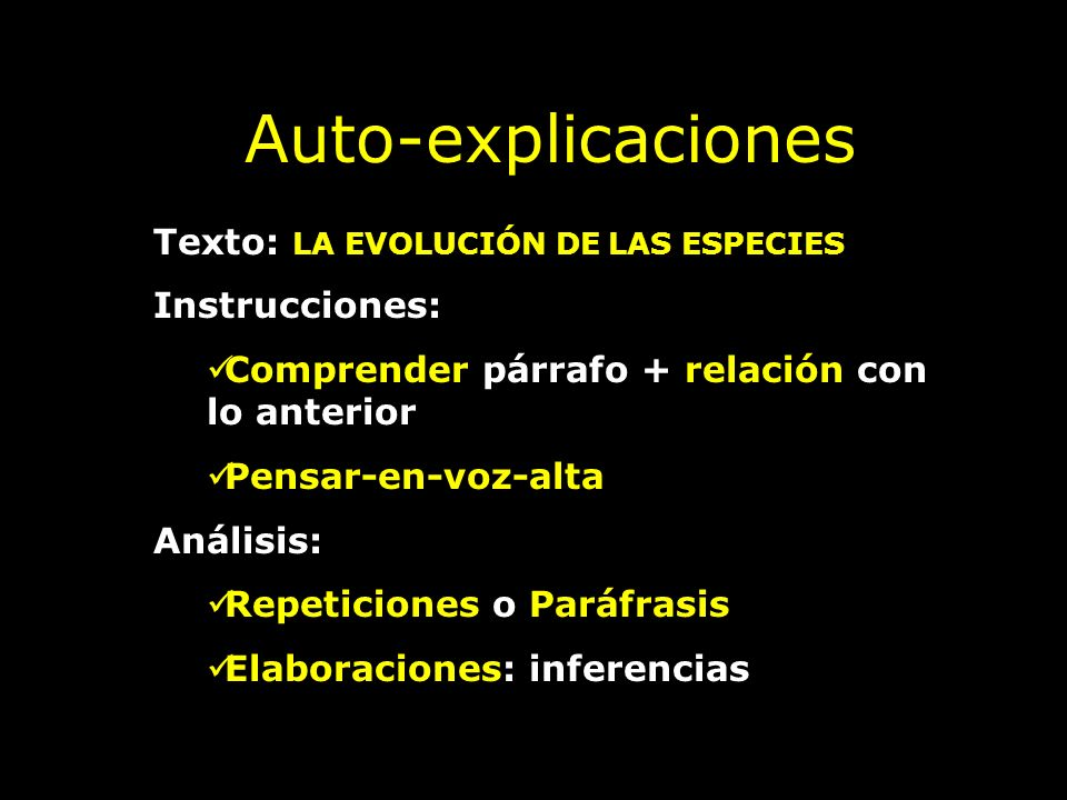 €Auto-explicaciones Texto: LA EVOLUCIÓN DE LAS ESPECIES Instrucciones: