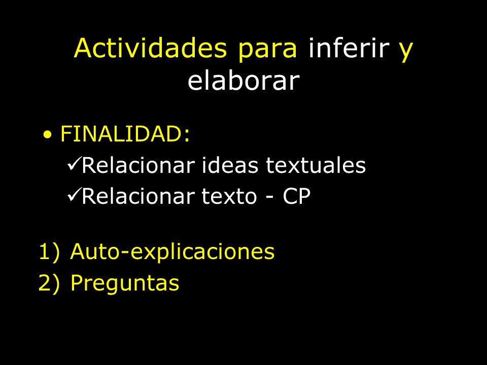 Actividades para inferir y elaborar