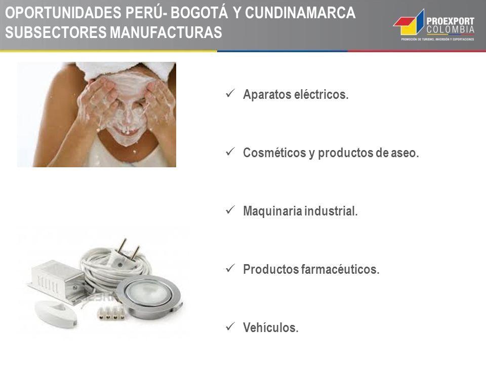 OPORTUNIDADES PERÚ- BOGOTÁ Y CUNDINAMARCA SUBSECTORES MANUFACTURAS