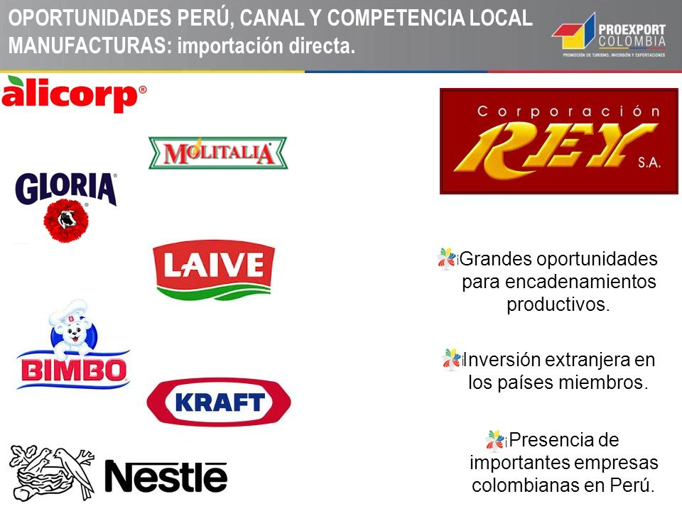 OPORTUNIDADES PERÚ, CANAL Y COMPETENCIA LOCAL MANUFACTURAS: importación directa.