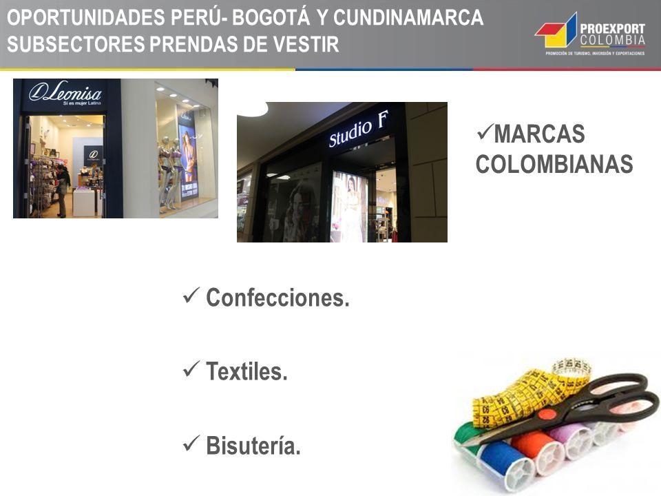 MARCAS COLOMBIANAS Confecciones. Textiles. Bisutería.