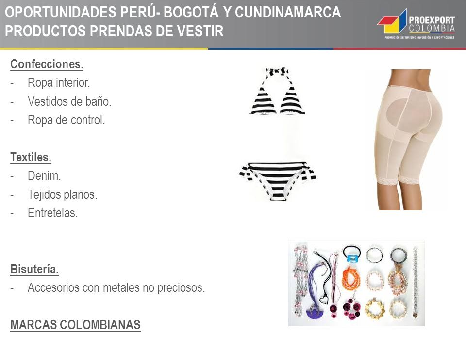 OPORTUNIDADES PERÚ- BOGOTÁ Y CUNDINAMARCA PRODUCTOS PRENDAS DE VESTIR