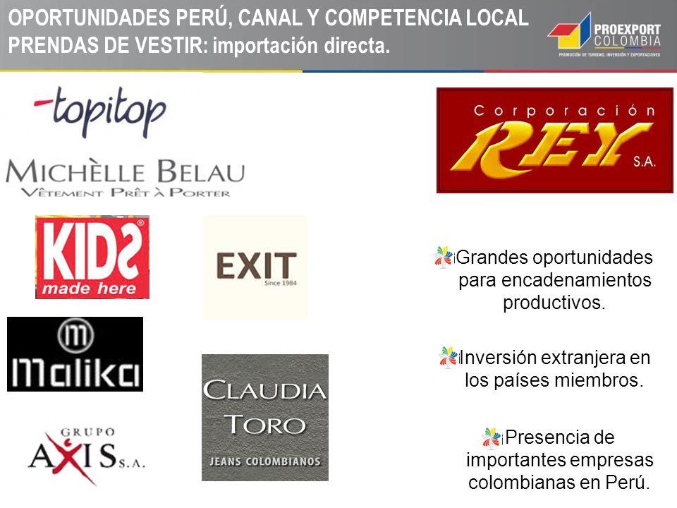 OPORTUNIDADES PERÚ, CANAL Y COMPETENCIA LOCAL PRENDAS DE VESTIR: importación directa.