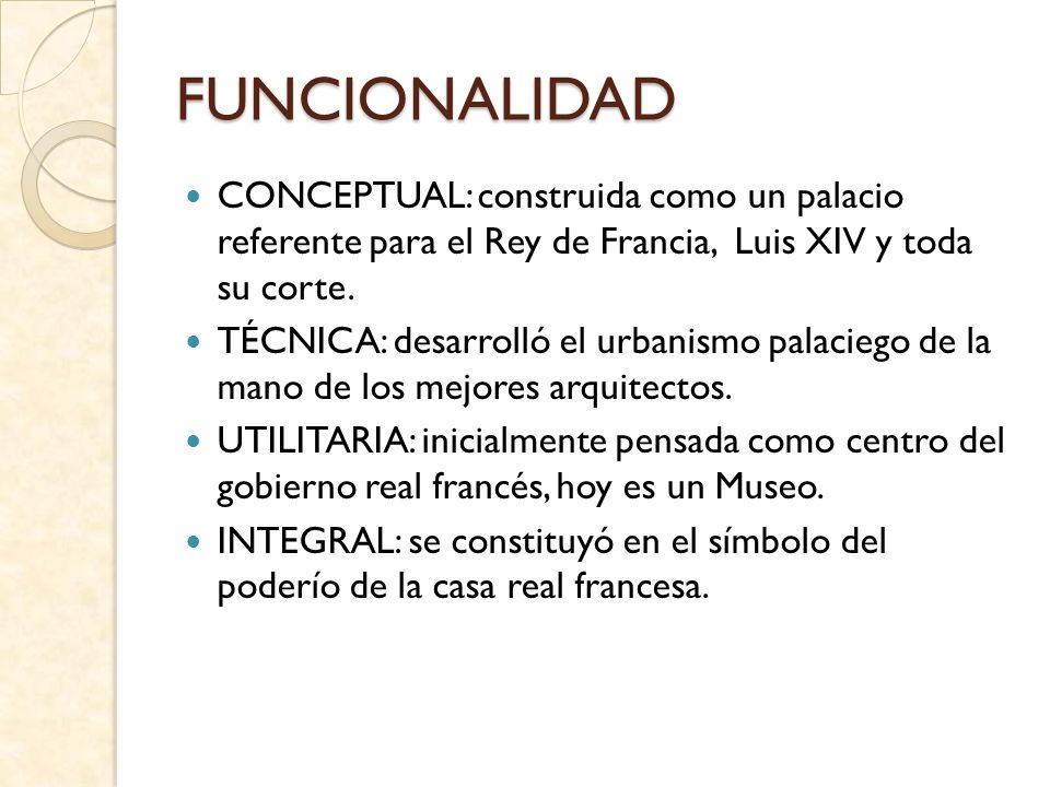 FUNCIONALIDADCONCEPTUAL: construida como un palacio referente para el Rey de Francia, Luis XIV y toda su corte.