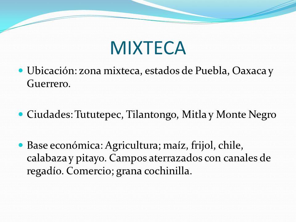 MIXTECA Ubicación: zona mixteca, estados de Puebla, Oaxaca y Guerrero.