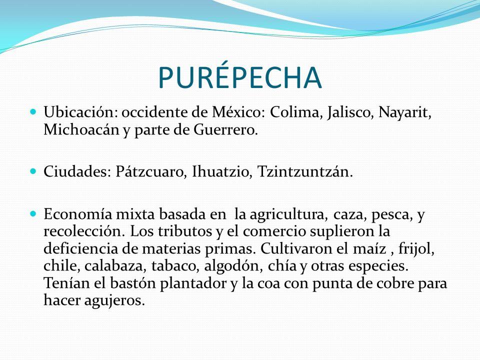 PURÉPECHA Ubicación: occidente de México: Colima, Jalisco, Nayarit, Michoacán y parte de Guerrero. Ciudades: Pátzcuaro, Ihuatzio, Tzintzuntzán.