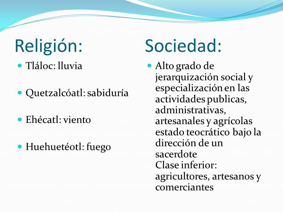 Religión: Sociedad: Tláloc: lluvia Quetzalcóatl: sabiduría