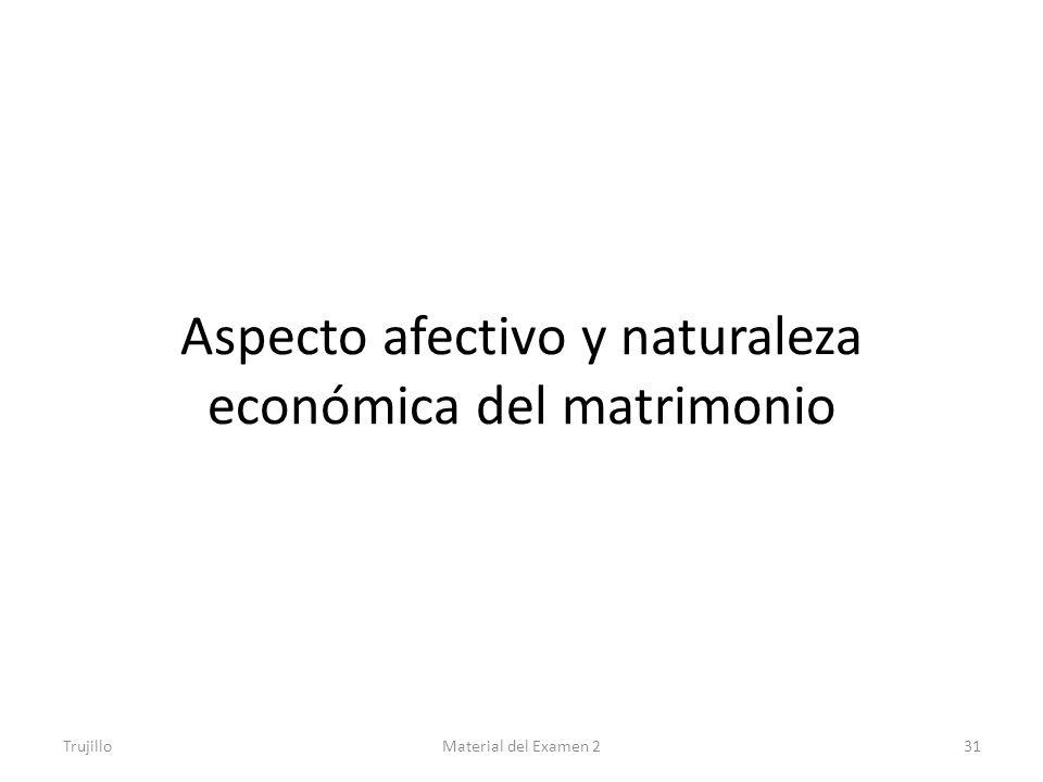 Aspecto afectivo y naturaleza económica del matrimonio