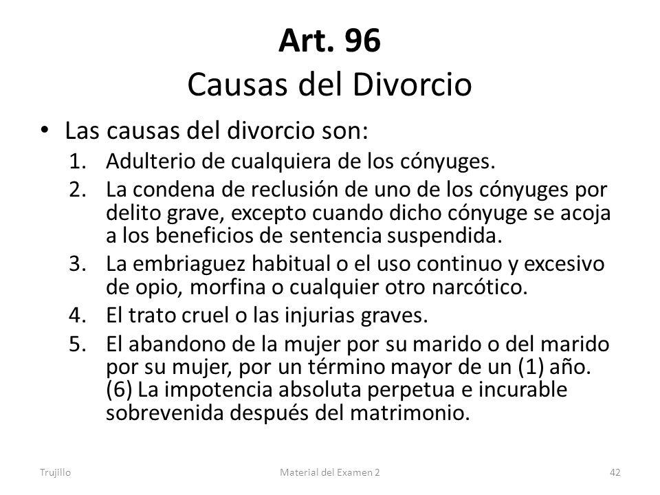 Art. 96 Causas del Divorcio