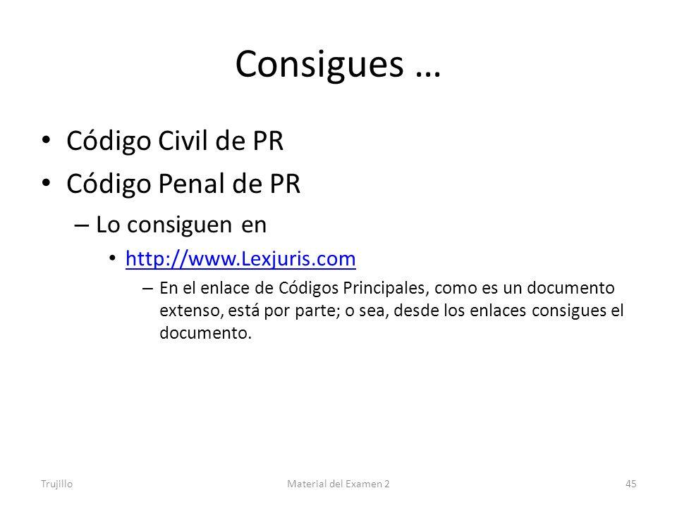Consigues … Código Civil de PR Código Penal de PR Lo consiguen en