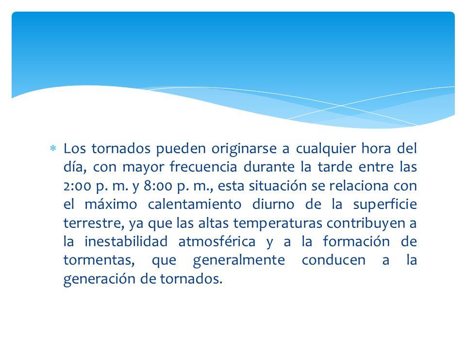 Los tornados pueden originarse a cualquier hora del día, con mayor frecuencia durante la tarde entre las 2:00 p.