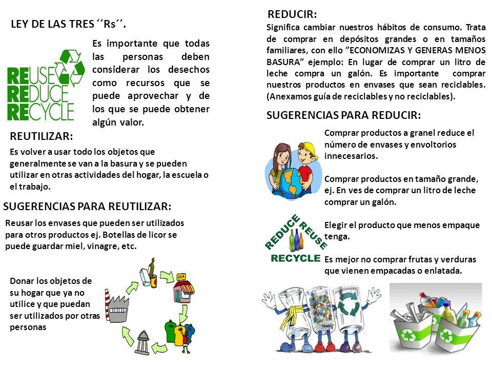 SUGERENCIAS PARA REDUCIR: