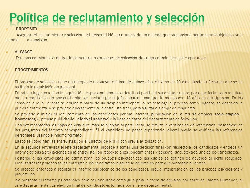 Política de reclutamiento y selección
