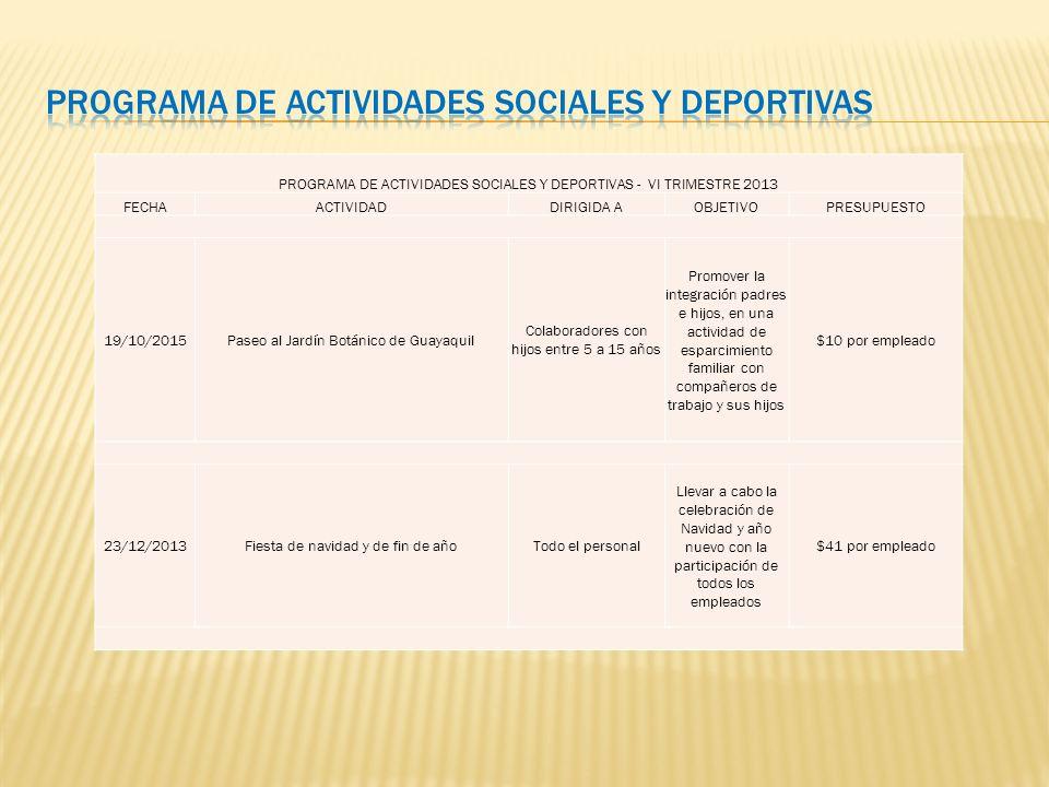 Programa de Actividades Sociales y deportivas