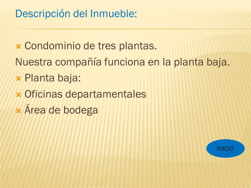 Descripción del Inmueble: Condominio de tres plantas.