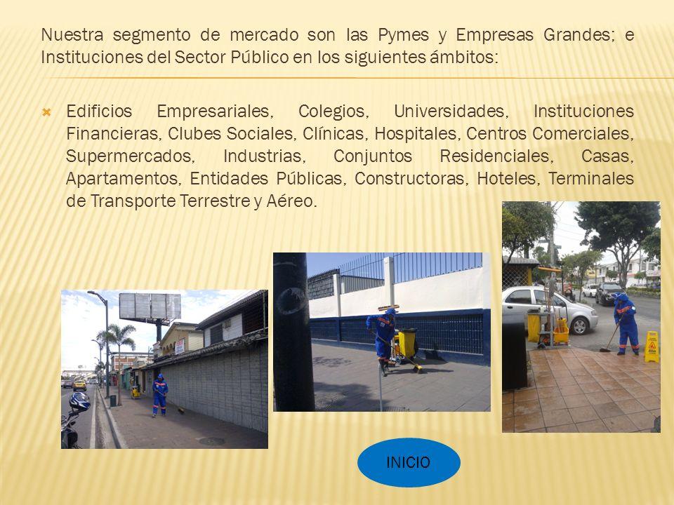 Nuestra segmento de mercado son las Pymes y Empresas Grandes; e Instituciones del Sector Público en los siguientes ámbitos: