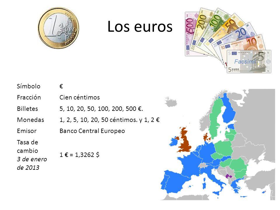 Los euros Símbolo € Fracción Cien céntimos Billetes