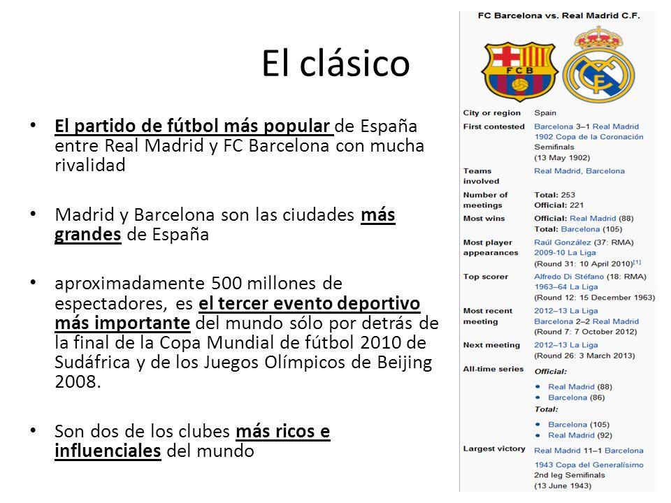 El clásico El partido de fútbol más popular de España entre Real Madrid y FC Barcelona con mucha rivalidad.