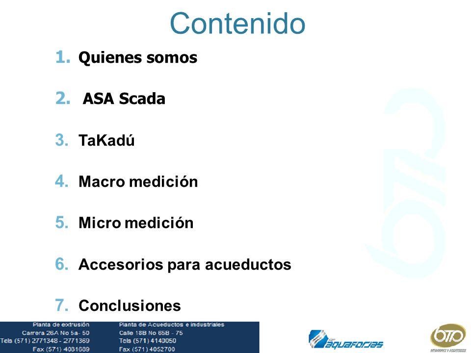 Contenido Quienes somos ASA Scada TaKadú Macro medición Micro medición