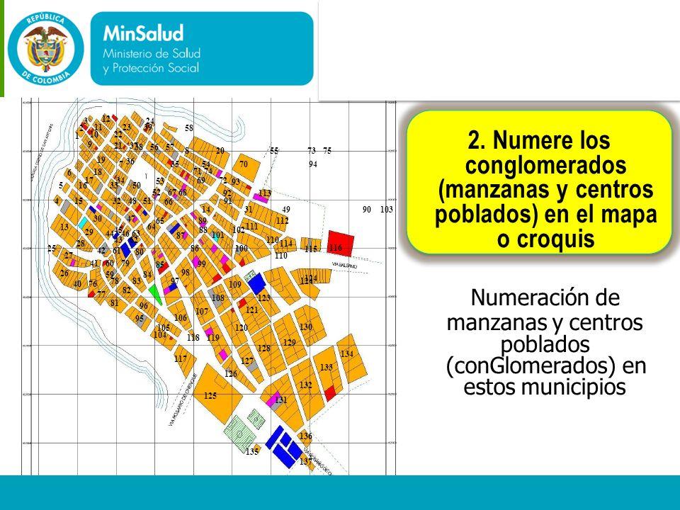 poblados) en el mapa Ministerio de la Protección Social 3 24 2 58 1