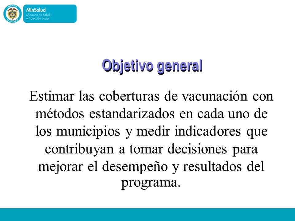 Objetivo general Estimar las coberturas de vacunación con programa.