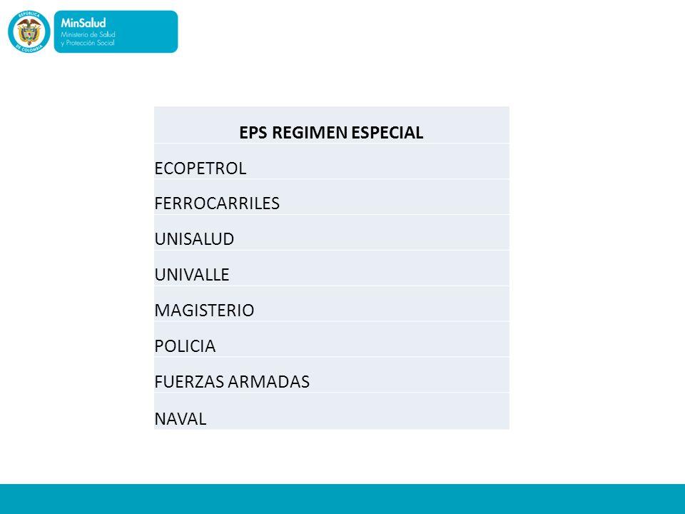 EPS REGIMEN ESPECIAL ECOPETROL. FERROCARRILES. UNISALUD. UNIVALLE. MAGISTERIO. POLICIA. FUERZAS ARMADAS.