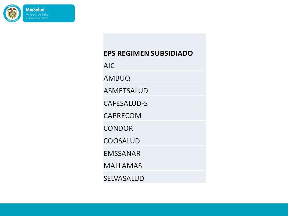 EPS REGIMEN SUBSIDIADO
