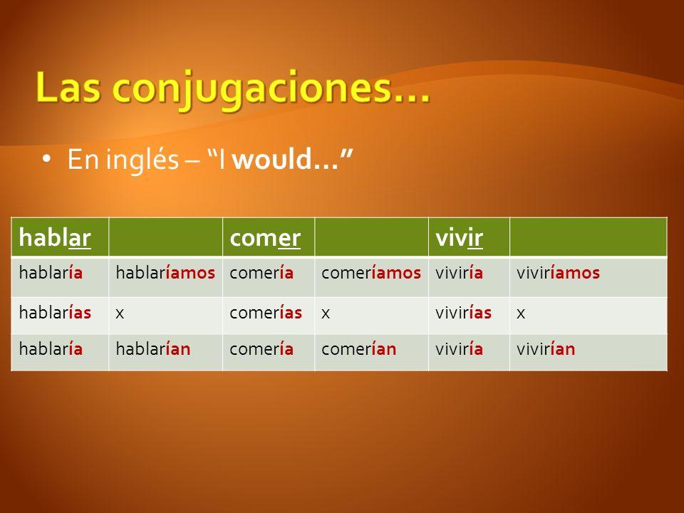 Las conjugaciones… En inglés – I would… hablar comer vivir hablaría