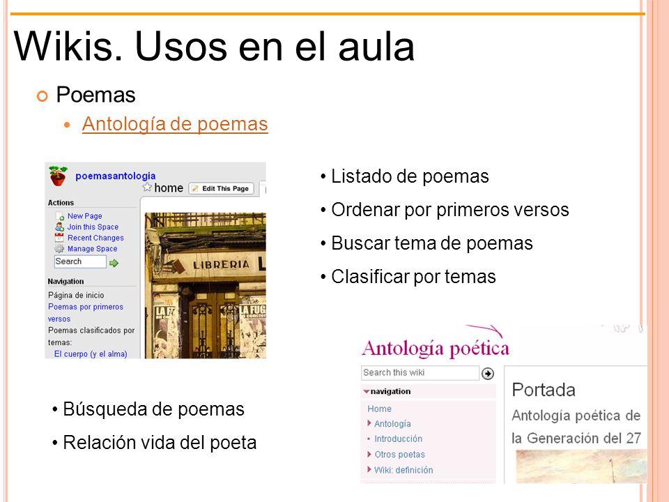 Wikis. Usos en el aula Poemas Antología de poemas Listado de poemas