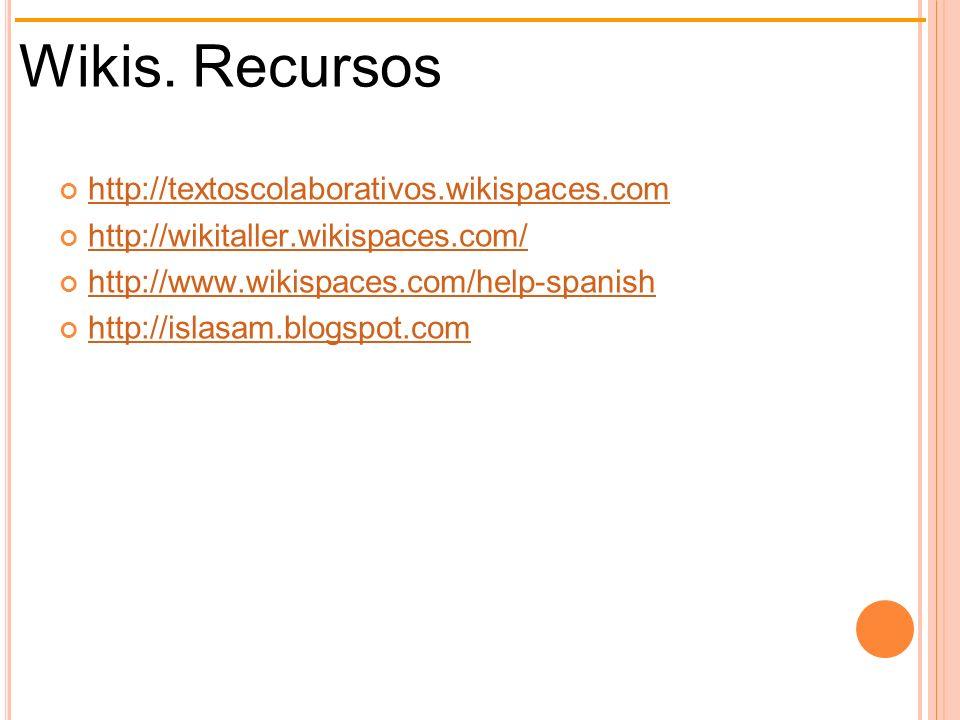 Wikis. Recursos http://textoscolaborativos.wikispaces.com