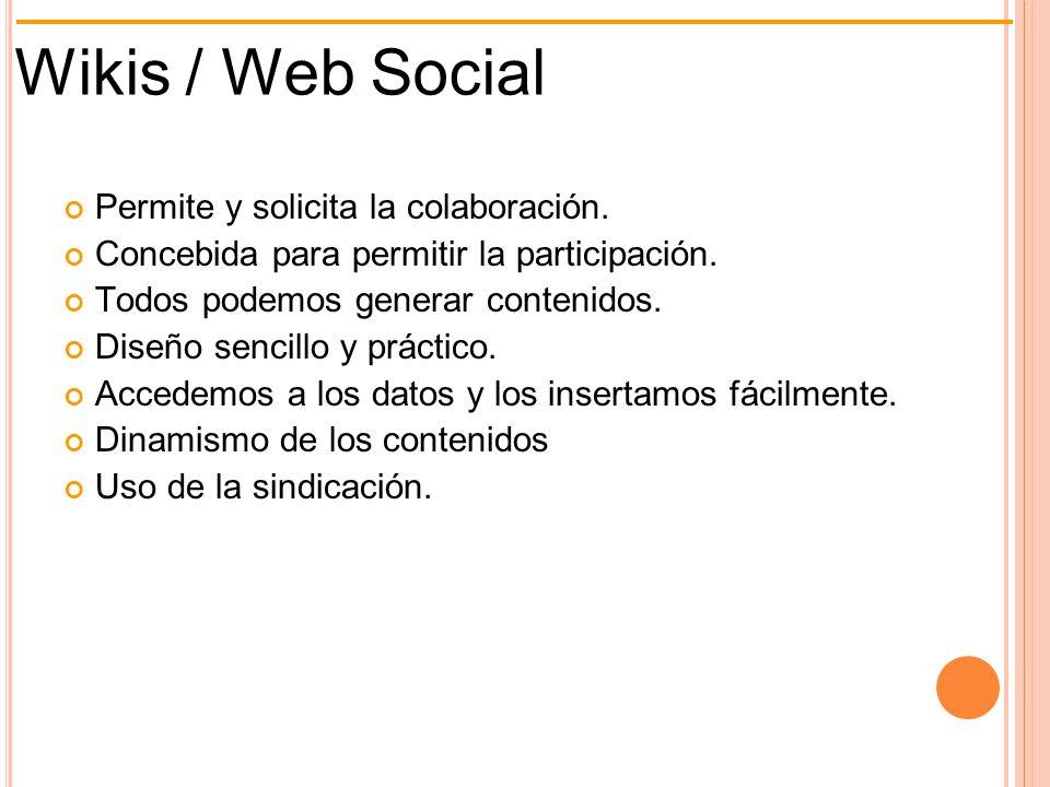 Wikis / Web Social Permite y solicita la colaboración.