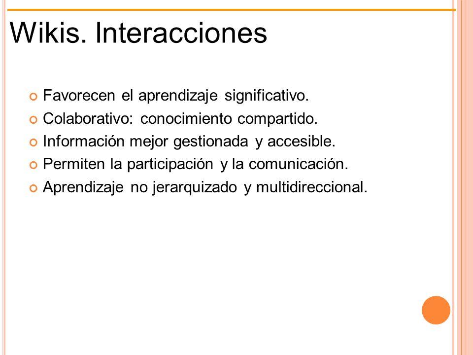 Wikis. Interacciones Favorecen el aprendizaje significativo.