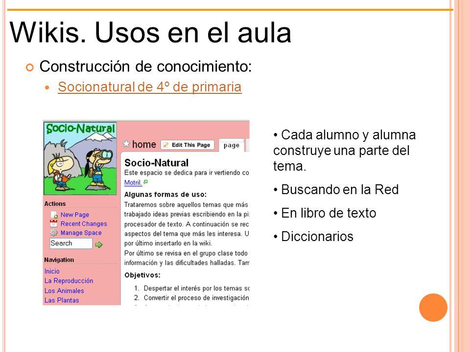 Wikis. Usos en el aula Construcción de conocimiento: