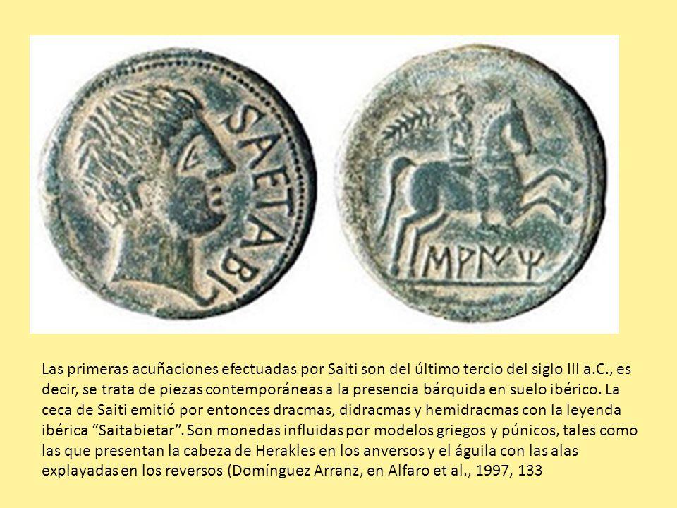 Las primeras acuñaciones efectuadas por Saiti son del último tercio del siglo III a.C., es decir, se trata de piezas contemporáneas a la presencia bárquida en suelo ibérico.