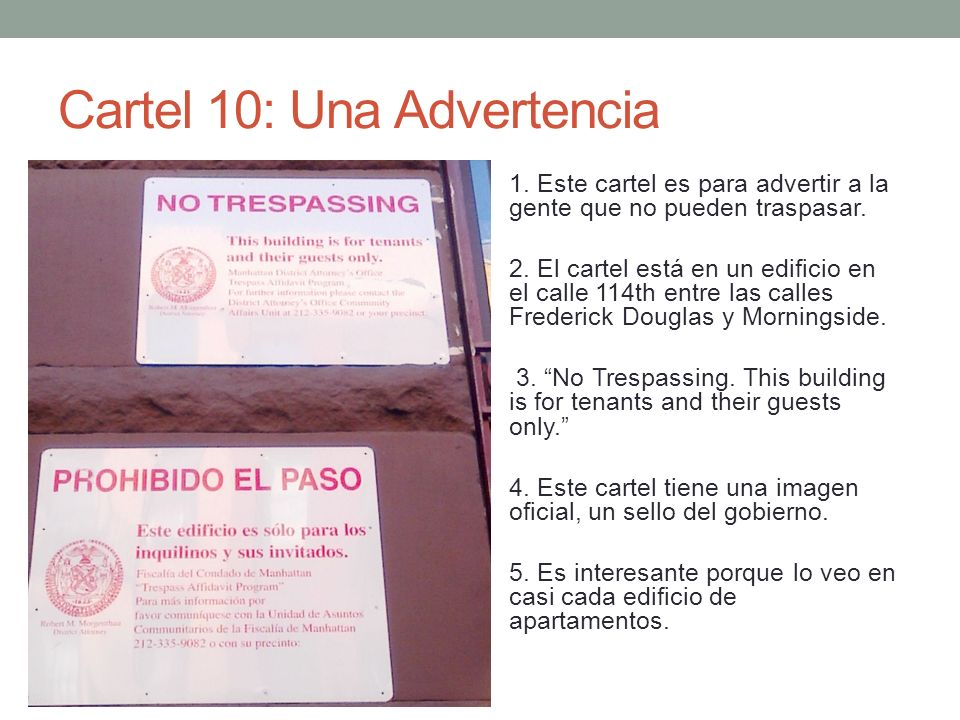 Cartel 10: Una Advertencia