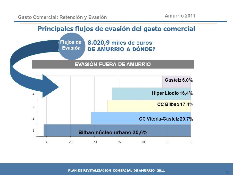 Principales flujos de evasión del gasto comercial