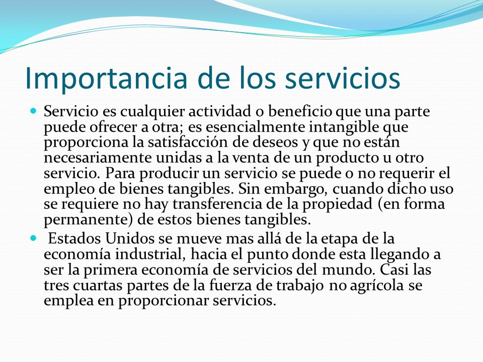 Importancia de los servicios