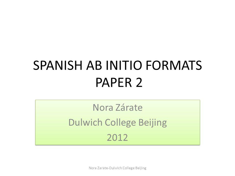 SPANISH AB INITIO FORMATS PAPER 2