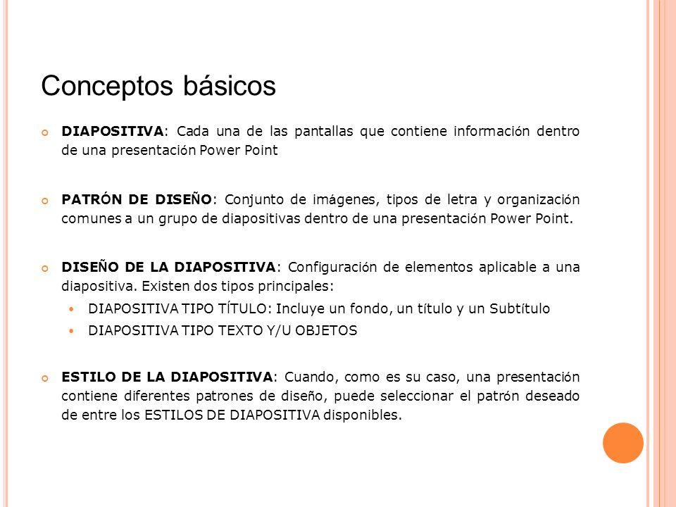Conceptos básicos DIAPOSITIVA: Cada una de las pantallas que contiene información dentro de una presentación Power Point.
